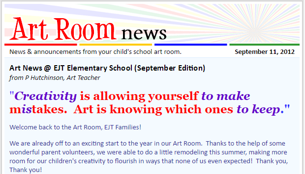 what is the art room news parent newsletter artsonia